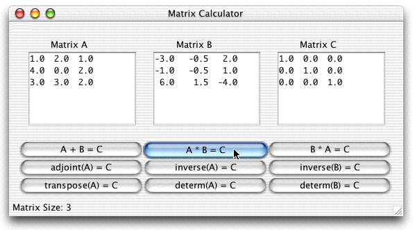 Matrix Calculator Screen Shot